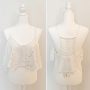 LF Native Rose white lace racerback cropped top
